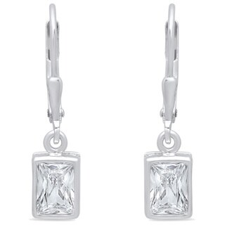 Sterling Essentials Sterling Silver Emerald-cut Cubic Zirconia Drop Earrings