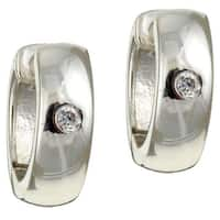 Sterling Essentials Sterling Silver Round Cubic Zirconia Hoop Earrings