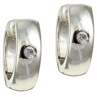 Sterling Silver Round Cubic Zirconia Hoop Earrings
