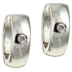 Sterling Essentials Sterling Silver Round Cubic Zirconia Hoop Earrings