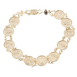 Sterling Essentials 14K Gold over Silver 6.5-inch Child's Saints Medal Bracelet