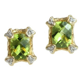Michael Valitutti 14k Gold Peridot and Diamond Earrings