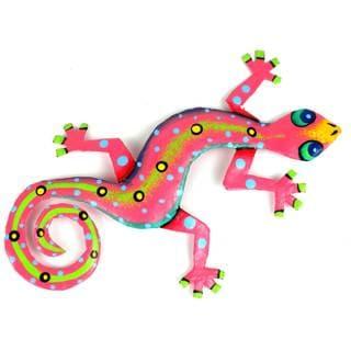 Metal 'Pink Gecko' Wall Art , Handmade in Haiti
