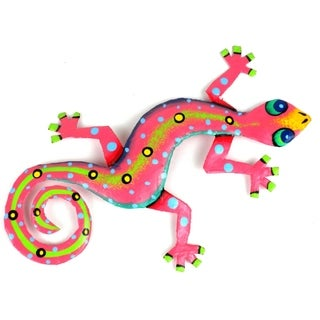 Metal 'Pink Gecko' Wall Art , Handmade in Haiti