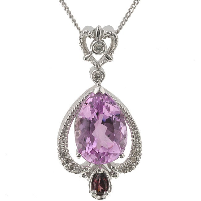 Michael Valitutti 14k Gold Kunzite and 1/10ct TDW Diamond Necklace