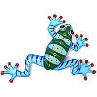 Recycled Oil Drum Blue Frog Wall Art , Handmade in Haiti