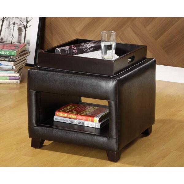 Furniture of America Lorraine Petite Vanity Ottoman with Flip-top Trays