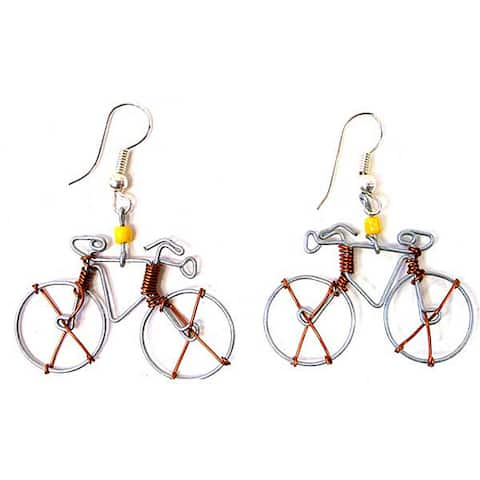 Handmade Tin Wire 'Bicycle' Earrings (Kenya)