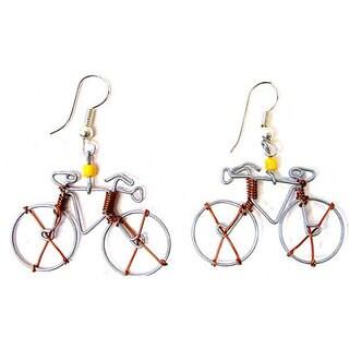 Handmade Tin Wire 'Bicycle' Earrings (Kenya)