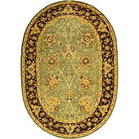 Safavieh Handmade Traditions Teal/ Brown Wool Rug (4'6 x 6'6 Oval)