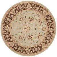 "Safavieh Handmade Traditions Teal/ Brown Wool Rug - 3'6"" x 3'6"" round"