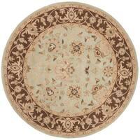 Safavieh Handmade Traditions Teal/ Brown Wool Rug - 6' x 6' Round