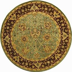 Safavieh Handmade Traditions Teal/ Brown Wool Rug (8' Round)