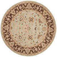 Safavieh Handmade Traditions Teal/ Brown Wool Rug - 8' x 8' Round