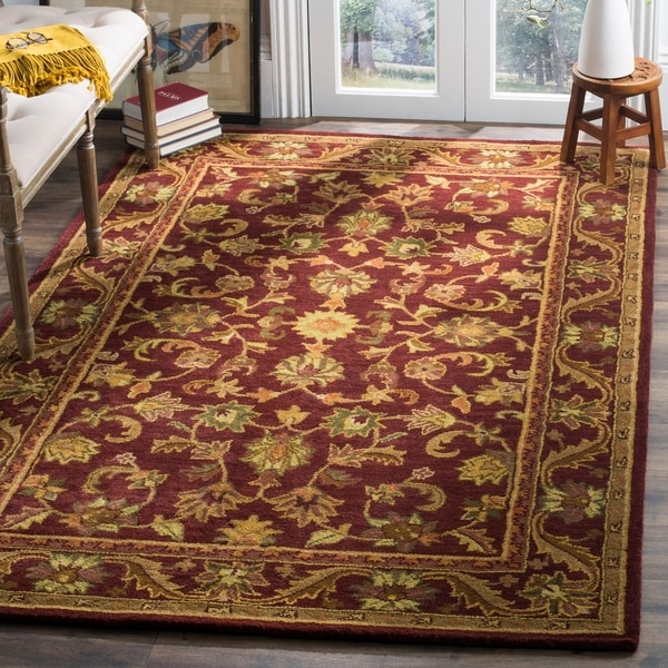 Safavieh Handmade Exquisite Wine/ Gold Wool Rug - 4' x 6'
