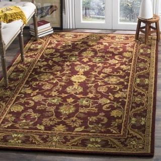 Safavieh Handmade Exquisite Wine/ Gold Wool Rug (5' x 8')