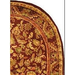 Safavieh Handmade Exquisite Wine/ Gold Wool Rug (4'6 x 6'6 Oval) - Thumbnail 1