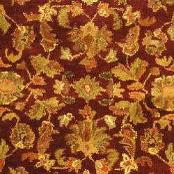 Safavieh Handmade Exquisite Wine/ Gold Wool Rug (4'6 x 6'6 Oval) - Thumbnail 2
