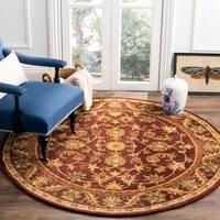 Safavieh Handmade Exquisite Wine/ Gold Wool Rug - 6' x 6' Round