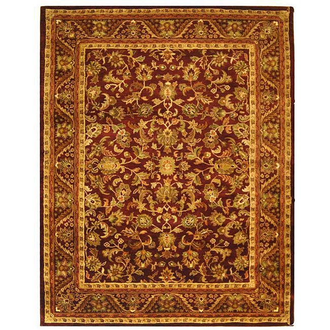 Safavieh Handmade Exquisite Wine/ Gold Wool Rug (7'6 x 9'6)