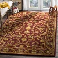 Safavieh Handmade Exquisite Wine/ Gold Wool Rug - 7'6 x 9'6