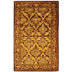 Safavieh Handmade Kerman Wine/ Gold Wool Rug (4' x 6')