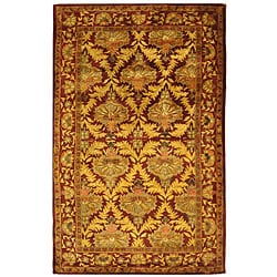 Safavieh Handmade Kerman Wine/ Gold Wool Rug (5' x 8')