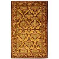 Safavieh Handmade Kerman Wine/ Gold Wool Rug - 5' x 8'