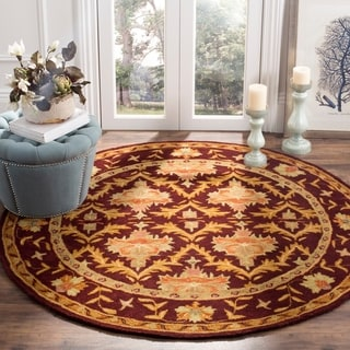 Safavieh Handmade Kerman Wine/ Gold Wool Rug (8' Round)