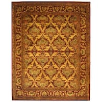 "Safavieh Handmade Kerman Wine/ Gold Wool Rug - 9'6"" x 13'6"""