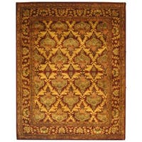 "Safavieh Handmade Kerman Wine/ Gold Wool Rug - 9'-6"" x 13'-6"""