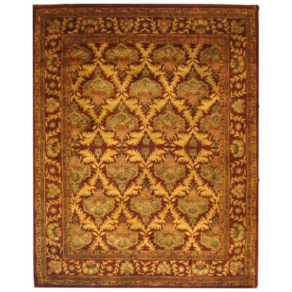 "Safavieh Handmade Kerman Wine/ Gold Wool Rug - 9'6"" x 13'6"""