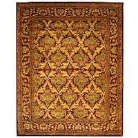 Safavieh Handmade Kerman Wine/ Gold Wool Rug - 6' x 9'