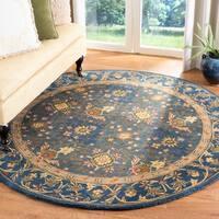 Safavieh Handmade Tabriz Blue Wool Rug - 6' x 6' Round