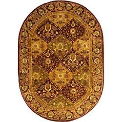 Safavieh Handmade Tabriz Wine Wool Rug (7'6 x 9'6 Oval)