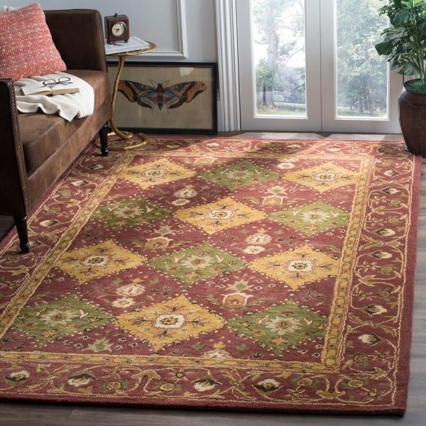 Safavieh Handmade Tabriz Wine Wool Rug - 6' x 9'