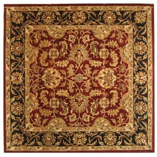 Safavieh Handmade Heritage Traditional Kashan Burgundy/ Black Wool Rug (6' Square)