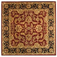 Safavieh Handmade Heritage Traditional Kashan Burgundy/ Black Wool Rug (8' Square)