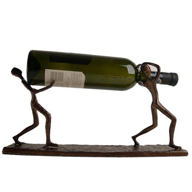 Cast Aluminum 'Two Men Carrying Bottle' Bottle Holder