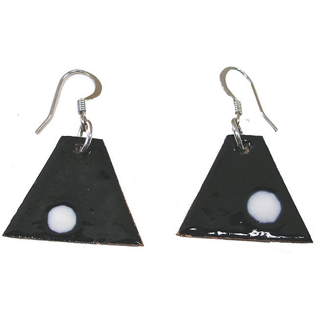Copper Black and White Triangular Enamel Earrings (Chile)