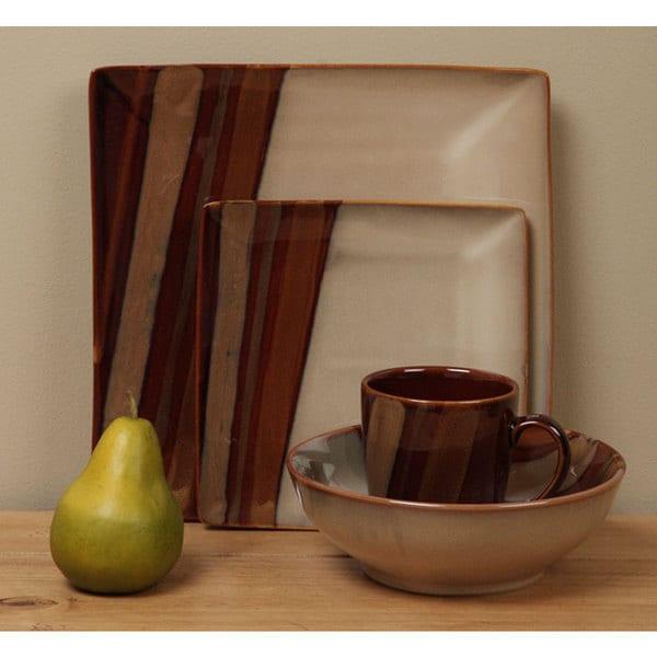 Shop Sango Avanti Brown 16-piece Dinnerware Set - Free Shipping ...