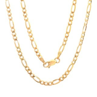 Sterling Essentials 14K Gold over Sterling Silver 3mm Figaro Chain (18-24 inches) (Option: 20 Inch)