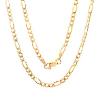 Sterling Essentials 14K Gold over Sterling Silver 3mm Figaro Chain (18-24 inches)