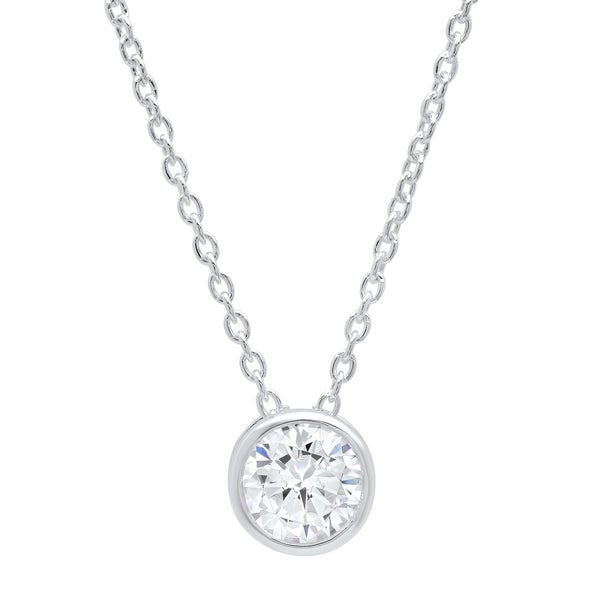 79eafb0044e6c Roberto Martinez Sterling Silver Cubic Zirconia Solitaire Necklace