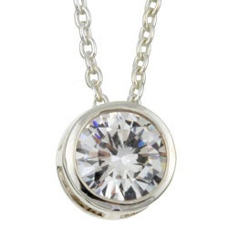 Sterling Silver 16-inch Cubic Zirconia Solitaire Necklace