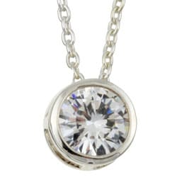 Sterling Silver 18-inch Cubic Zirconia Solitaire Necklace