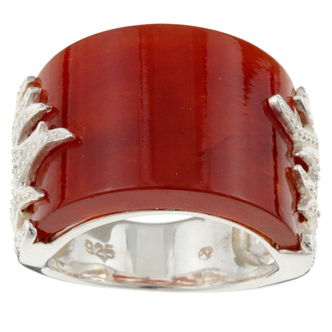 Kabella Sterling Silver Red Jade Saddle Ring