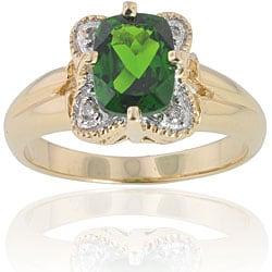 Michael Valitutti 14k Gold Chrome Diopside/ Diamond Ring
