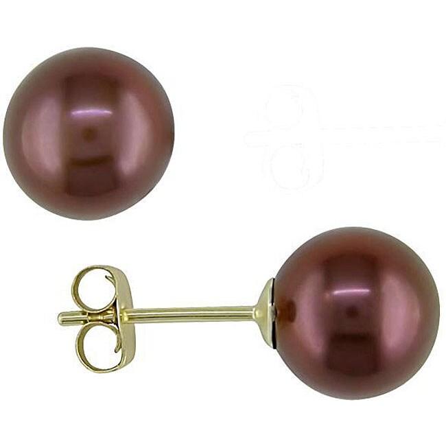 Miadora 14k Gold Brown Freshwater Pearl Earrings (7-7.5 mm)