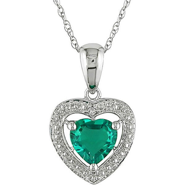 Miadora 10k Gold Created Emerald and Diamond Heart Necklace Free Shipping T